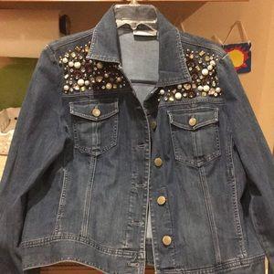 Chico's Platinum Denim Size2 decorated Jean jacket